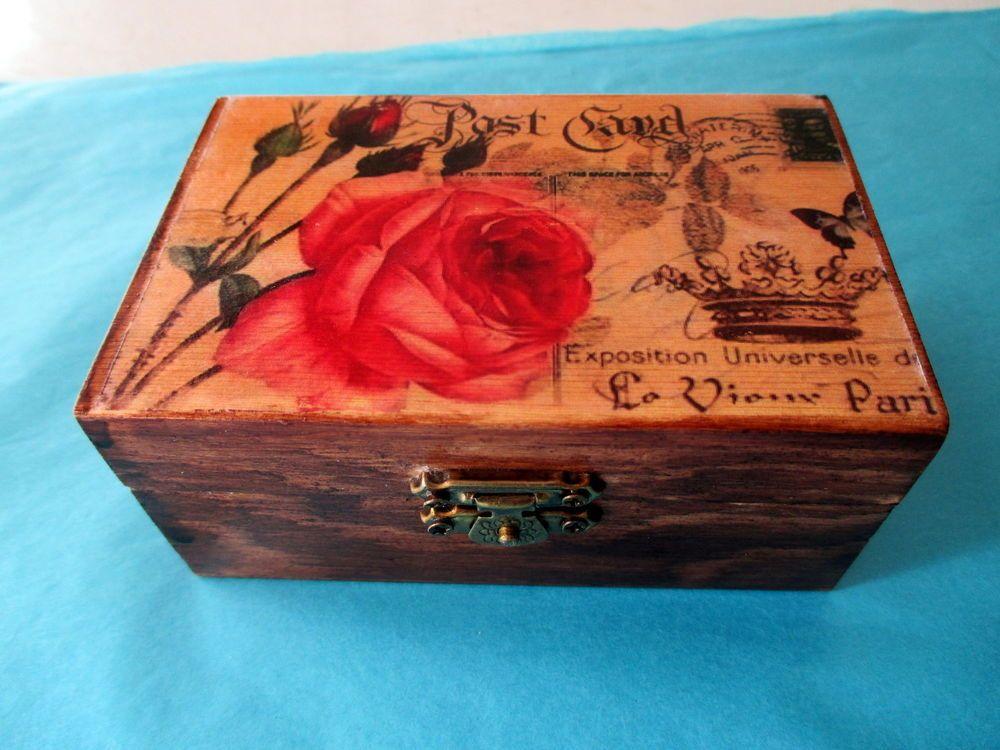 Caja de madera decoradas a mano rosa post card cajas - Cajas decoradas a mano ...