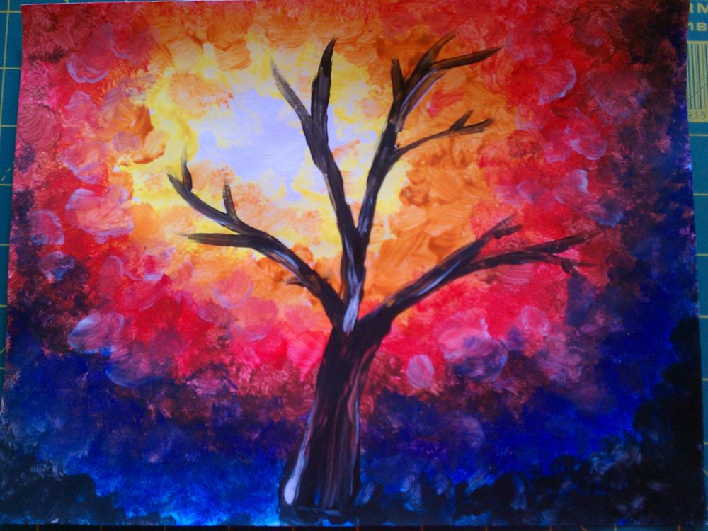 Leese art docent impressionist autumn tree project for Fall paintings easy