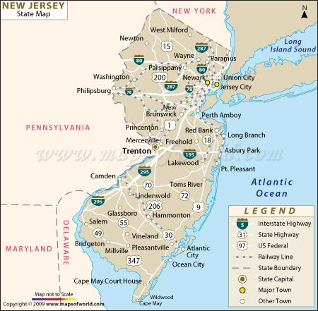 Buy New Jersey State Map from Worldmapstore in different sizes and