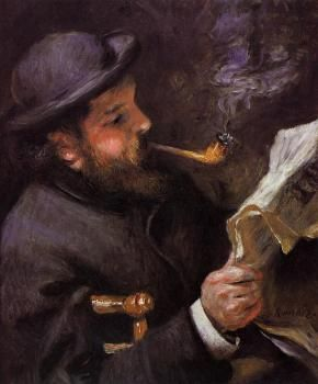 Claude Monet Reading - Pierre Auguste Renoir  - 1872 - The Athenaeum