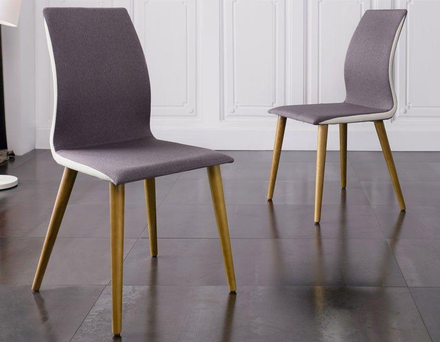chaise salle a manger grise en tissu et pieds en bois design martha lot de - Chaise Salle A Manger Gris