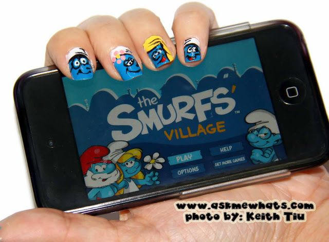 Askmewhats: Nail Art Tutorial: Smurfs!