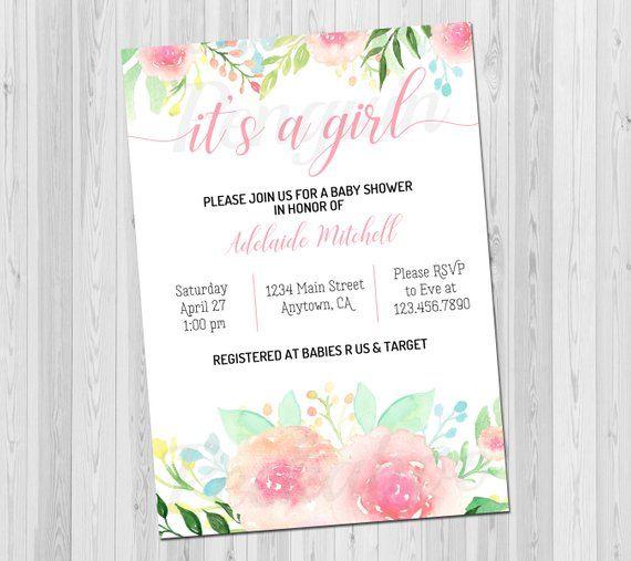 Baby Shower Invitation Rustic Invite Fl Watercolor