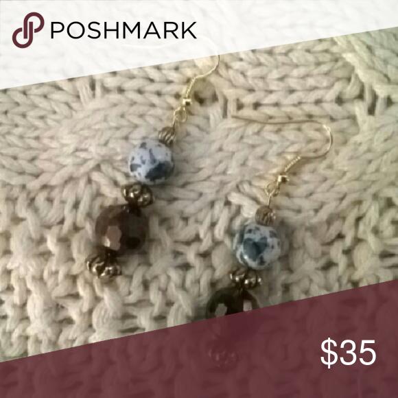 White Stone &  Bronze colored Glass Earrings White Stone resin bead &  Bronze colored Glass bead Jewelry Earrings