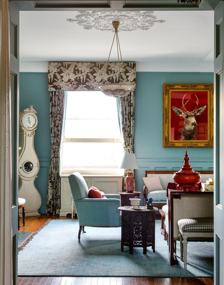 Sheila Bridges Living Room painted Farrow and Ball Oval Room Blue
