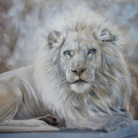 Beauty In The Beast White Lion Original Oil By Anne