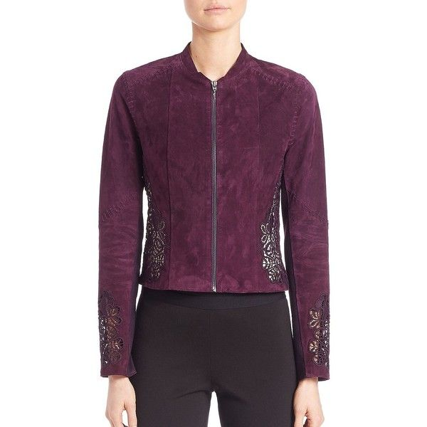 Elie Tahari Zahara Floral Lace Suede Jacket ($479) ❤ liked on Polyvore featuring outerwear, jackets, bordeaux, modern collecti - elie tahari, zipper jacket, suede jacket, lace jacket, flower print jacket and elie tahari