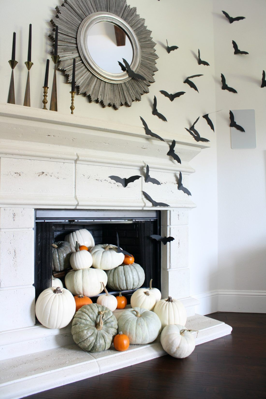 Simple Decorations Paper Bats Bat Decor Pumpkins In Fireplace Mantle Ideas