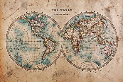 hemispheres wallpaper wall decor vintage world mapsold