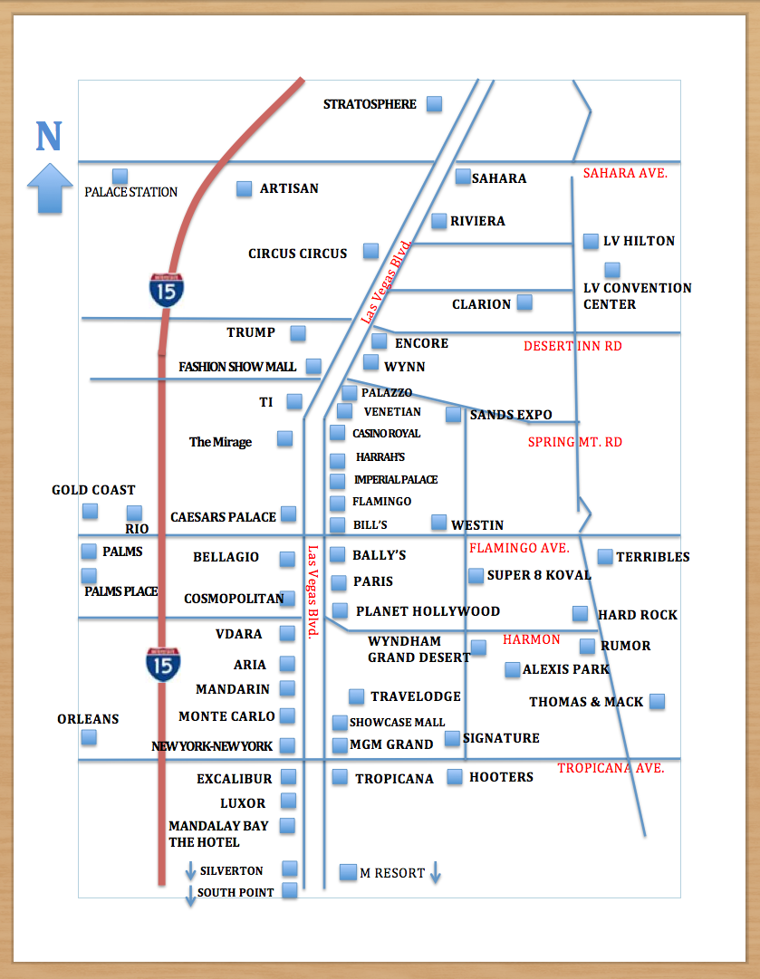 List Of Las Vegas Hotels S And Strip Map