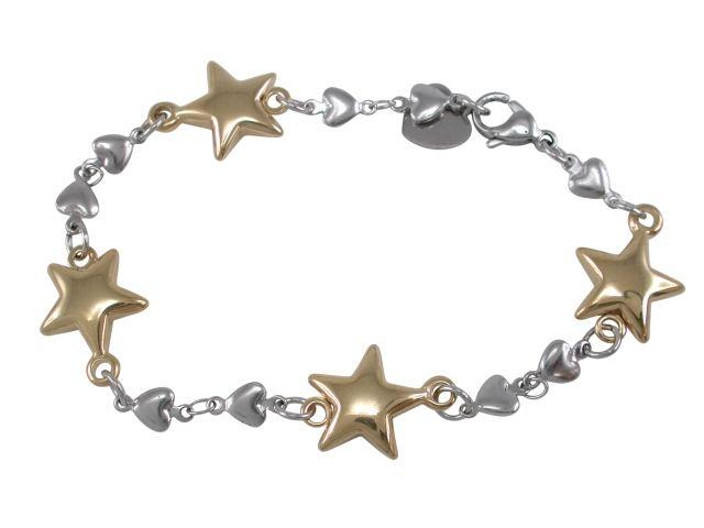 Stainless Steel & Gold Ip 13mm Stars & Hearts Bracelet 20cm