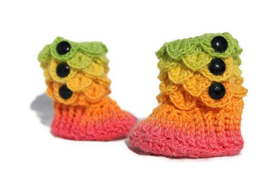 s /& 0-6 Any Color Months 6-12 Crocheted Crocodile Rainbow Boots w 3 Button Side Closure -