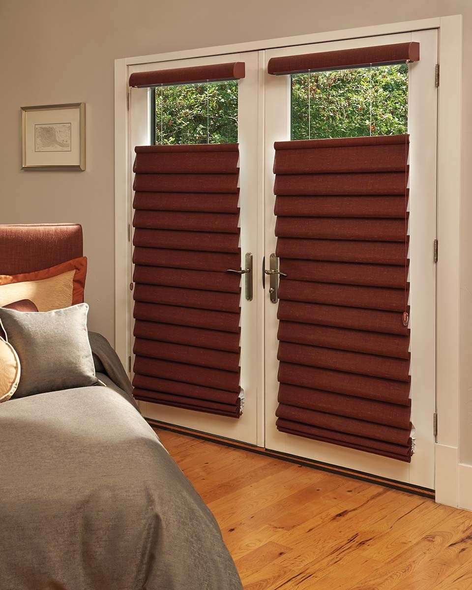 Patio Door Coverings Vignette Modern Roman Shades With Top Down