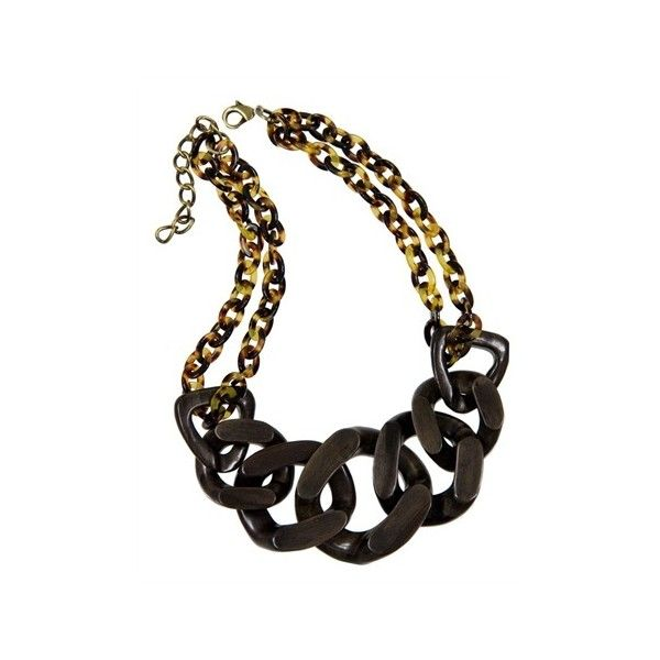 Pono Mahogany And Tortoise Chain Necklace ❤ liked on Polyvore