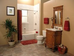 Picture Of Tan Bathroom With A White Shower And A Red Curtain Bathrooms Remodel Bathroom Red Bathroom Remodeling Contractors
