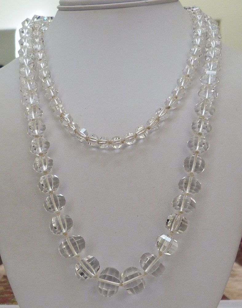 """42"""" LONG VINTAGE ART DECO FACETED CUT CRYSTAL GRADUATED BEADS NECKLACE 98.1 GRAM"""
