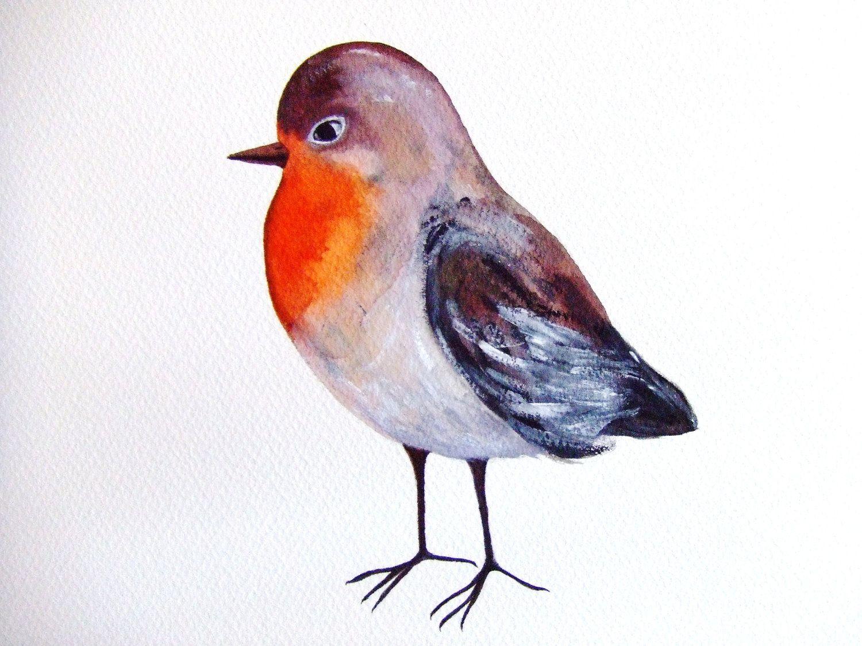 Oiseau Rouge Gorge Peinture Originale Aquarelle Encre Gouache