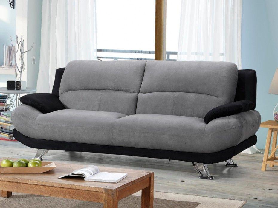 Canapé 3 places en microfibre MUSKO Bicolore gris et