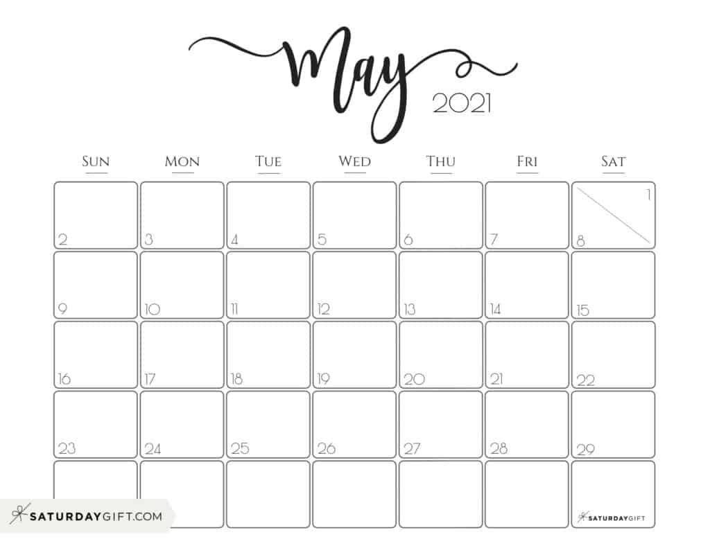 May 2021 Calendar Printable Elegant 2021 Calendar by SaturdayGift   Pretty Printable Monthly