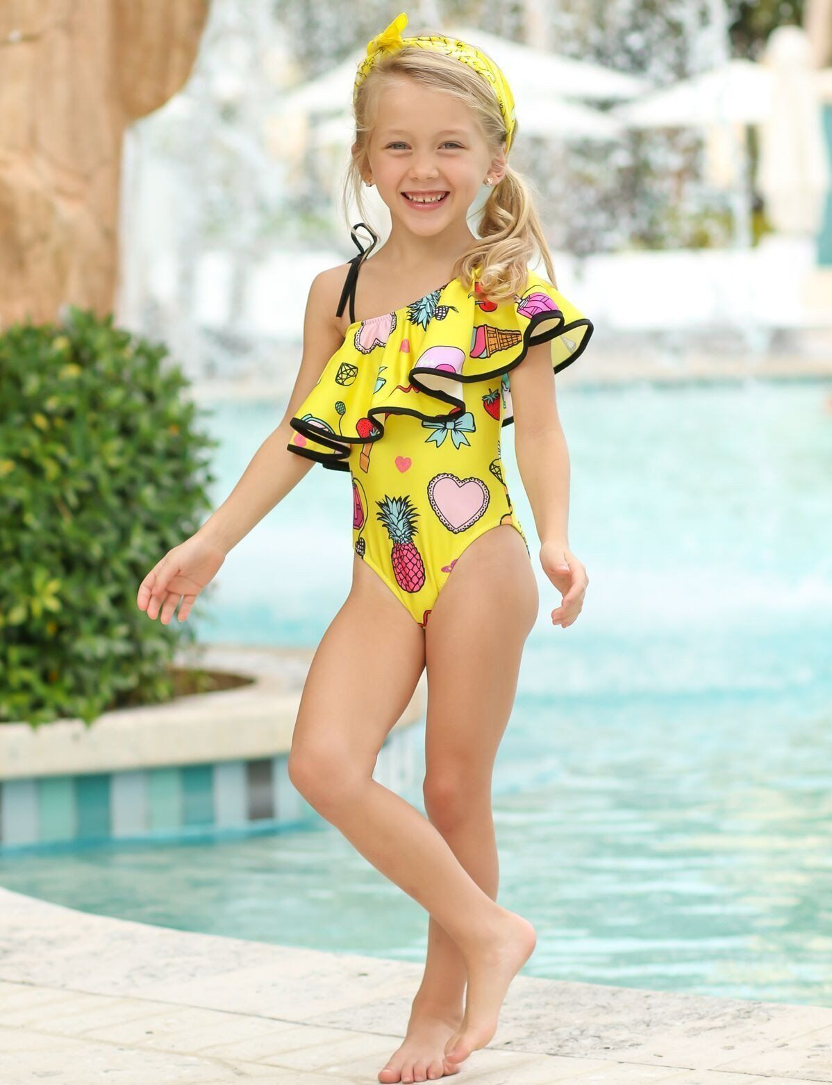 8fce02a57d8b7 Girls One Shoulder Ruffle Printed One Piece Swimsuit with Matching ...