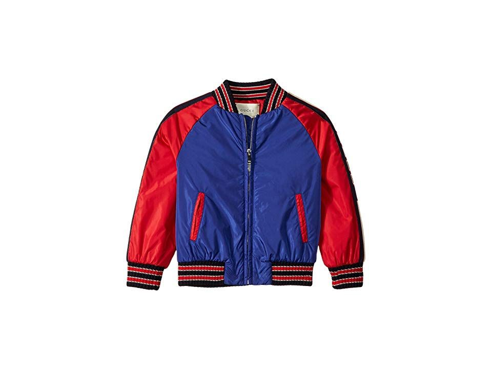 0cbf852f925 Gucci Kids Padded Bomber Jacket (Little Kids Big Kids) (Electric Blue)  Boy s Coat. Strong polyester bomber jacket. Ribbed collar. Full front zip  closure.