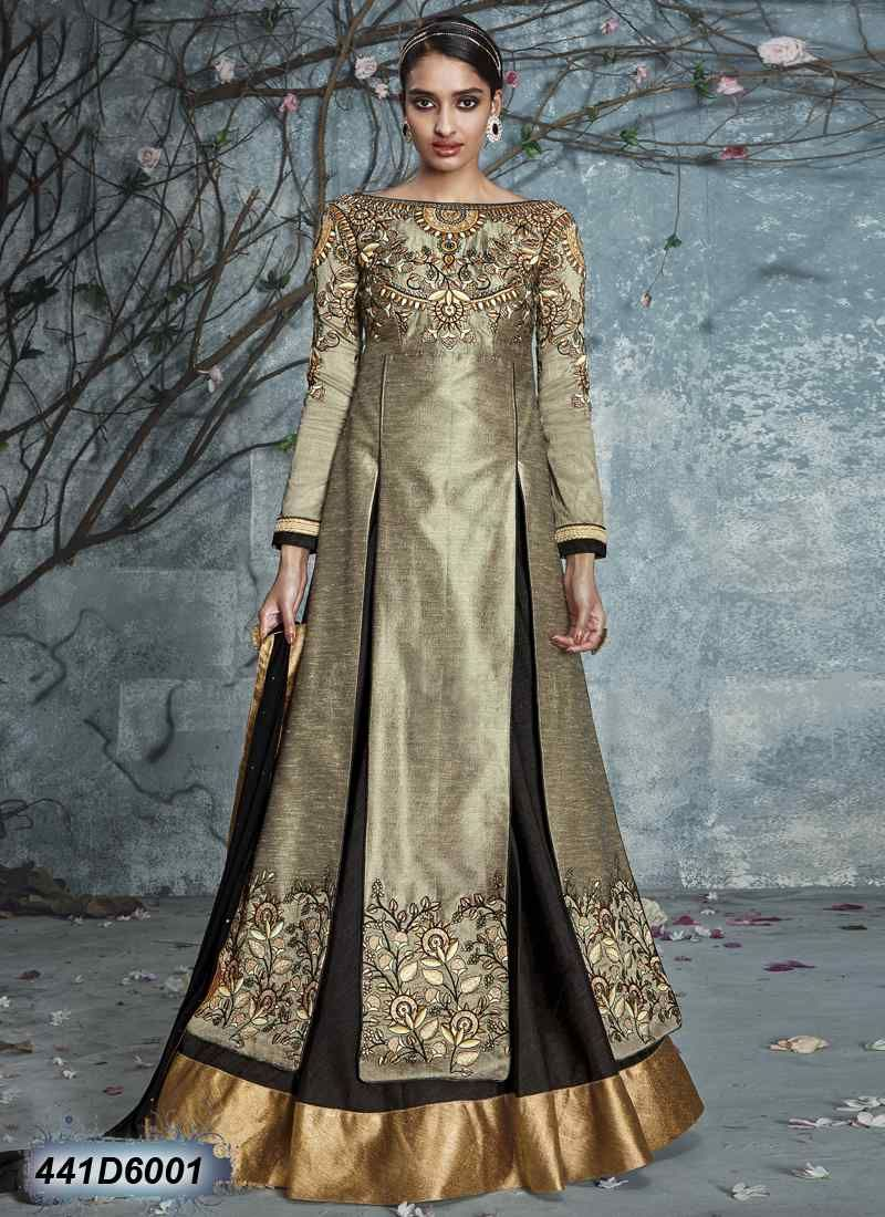 d503fd0849 Ravishing Grey Coloured Raw Silk Semi stitched Salwar Suit ...