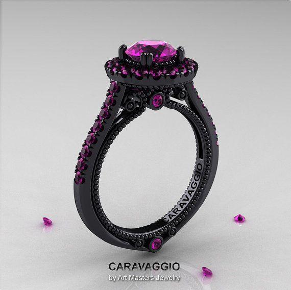 Caravaggio 14K Black Gold 1.0 Ct Amethyst Engagement Ring, Wedding Ring R621-14KBGBAM