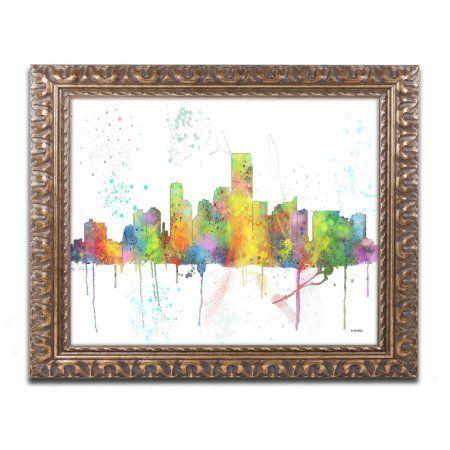 Trademark Fine Art Jersey City New Jersey Skyline Canvas Art by Marlene Watson, Gold Ornate Frame, Size: 11 x 14