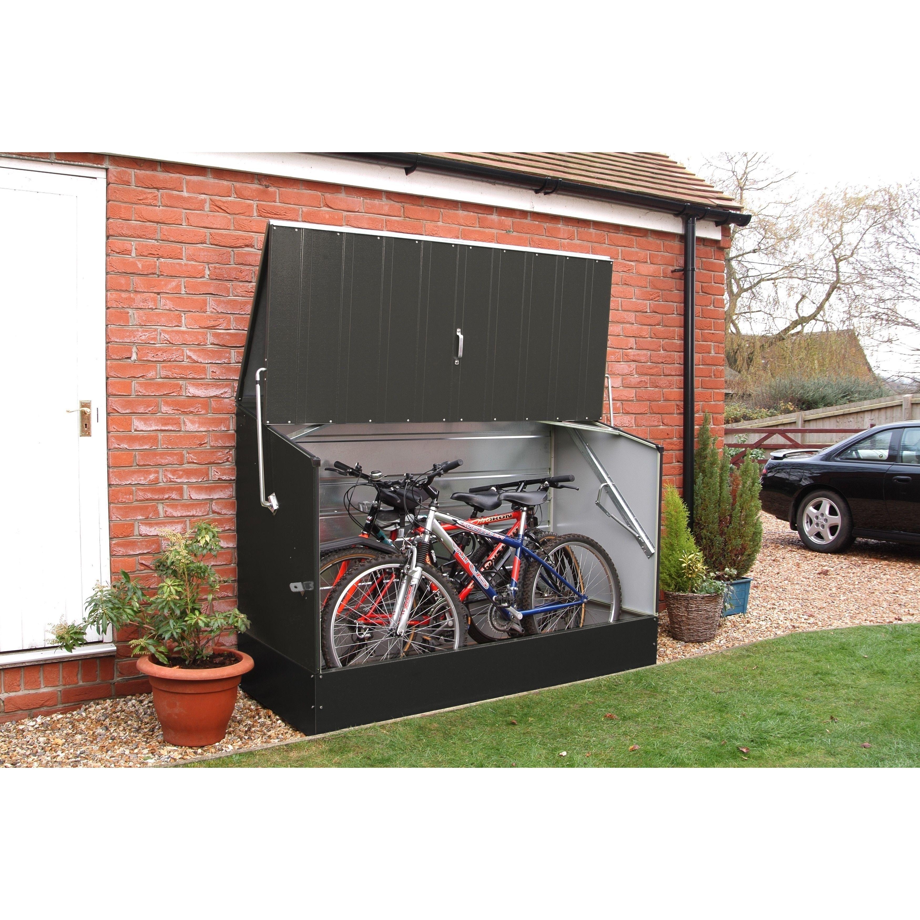 Trimetals Anthracite Outdoor Heavy Duty Steel Bicycle Storage Locker Outdoor Bike Storage Bicycle Storage Shed Bike Storage