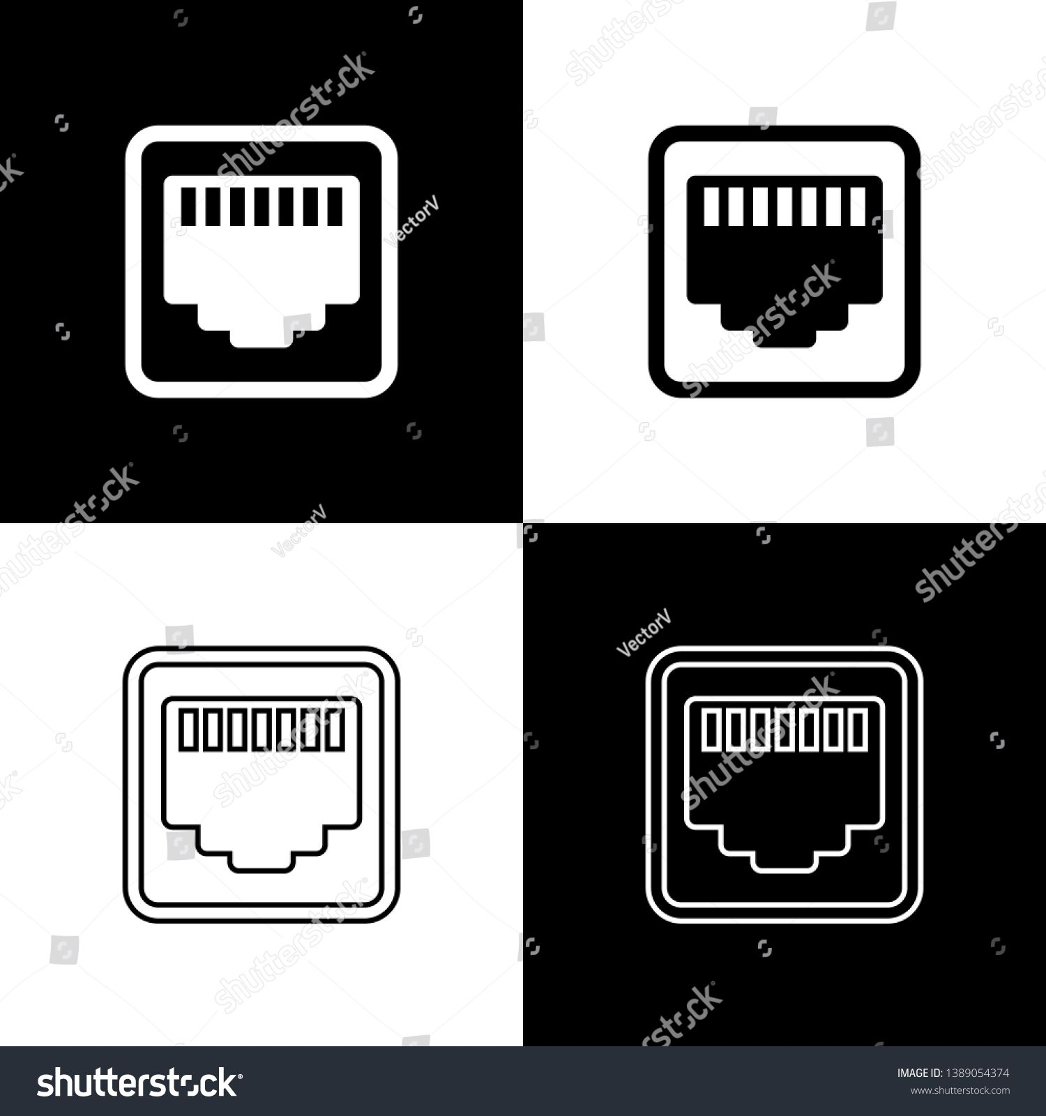 Set Network Port Cable Socket Icons Isolated On Black And White Background Lan Ethernet Port Sign Loc Black And White Background Icon Graphic Illustration