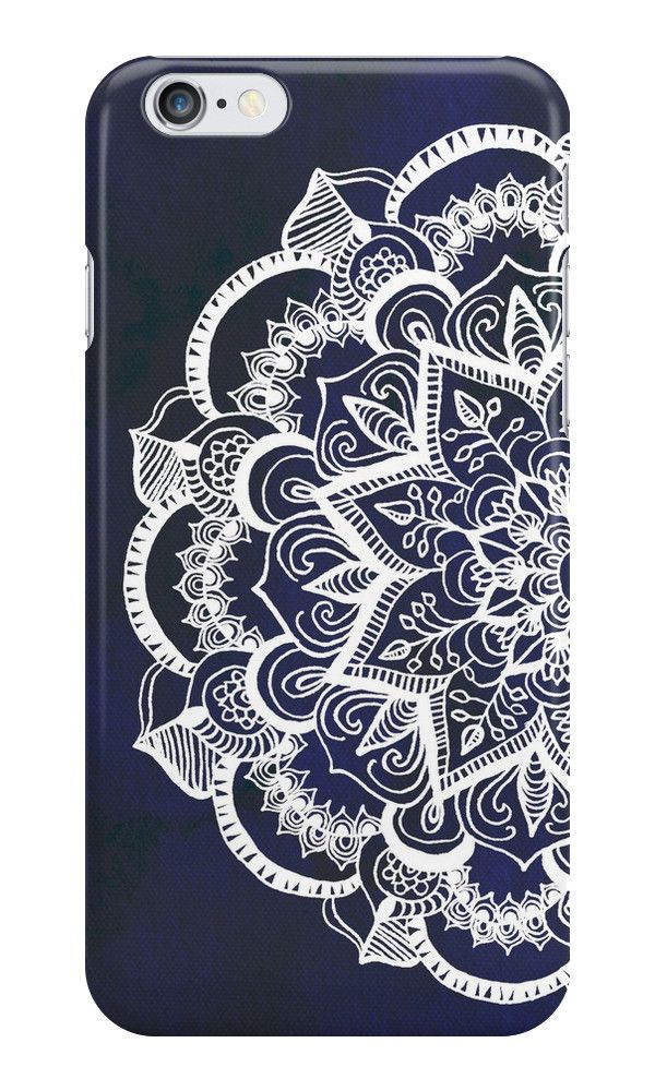 White Feather Mandala on Navy iPhone Case & Cover