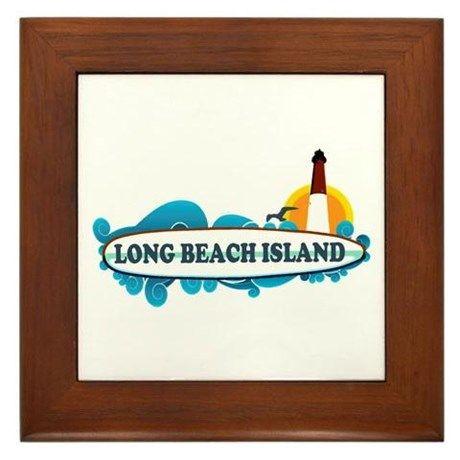 Long Beach Island NJ - Surf Design Framed Tile on CafePress.com