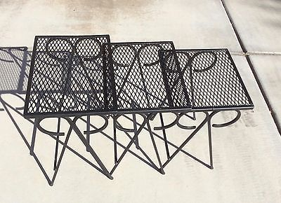 Perfect Vtg Mid Century Modern Wrought Iron Nesting Tables Metal Mesh Patio  Salterini