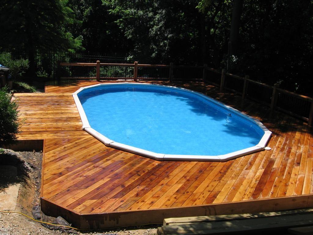 raised in ground pools | Cedar Deck around above ground pool by ...