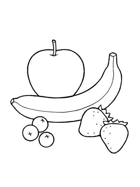 Un ejemplo blanco y negro de la fruta, incluyendo un plátano, tres ...