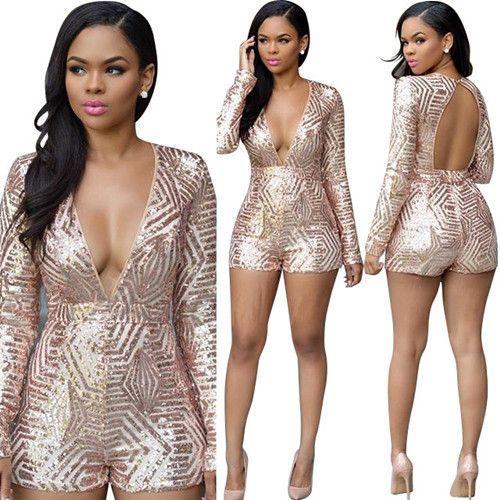 d96ce7af247 Sexy Elegant Overalls Rompers Women Bodycon Jumpsuit Shorts Sequin Casual  Catsuit Salopette Jumpsuit Beyonce Body Suit