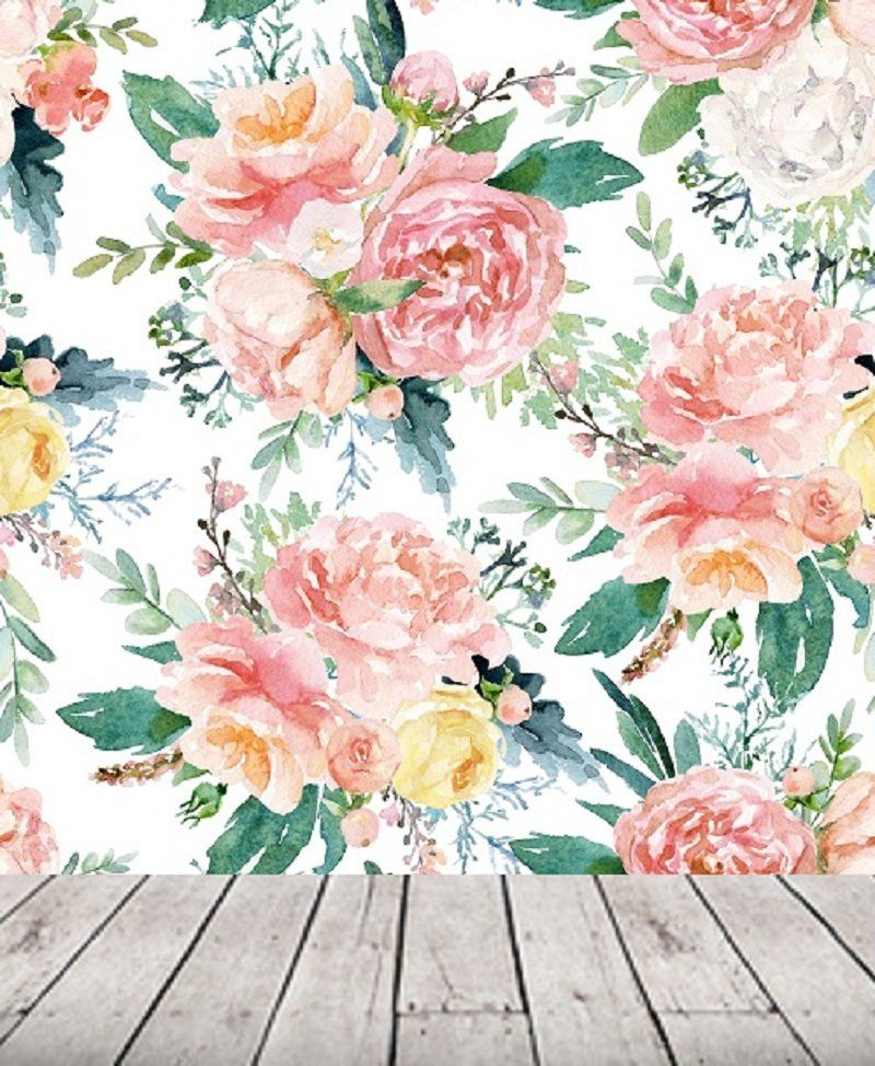 Large Watercolor Peony Floral Wallpaper Nursery Girl