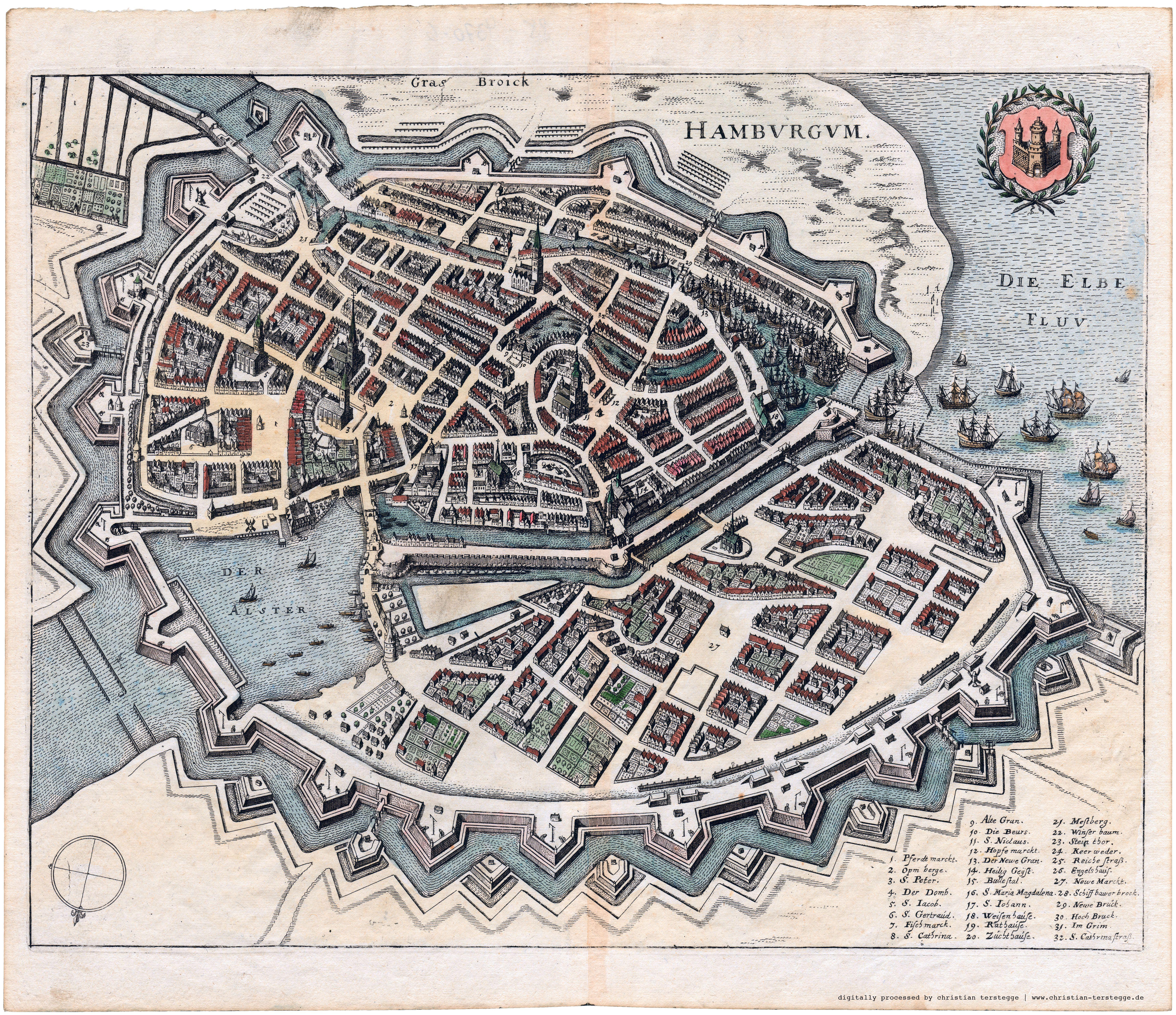 Karte Hamburg 1641 Matthaus Merian Hamburg Illustrierte Karten
