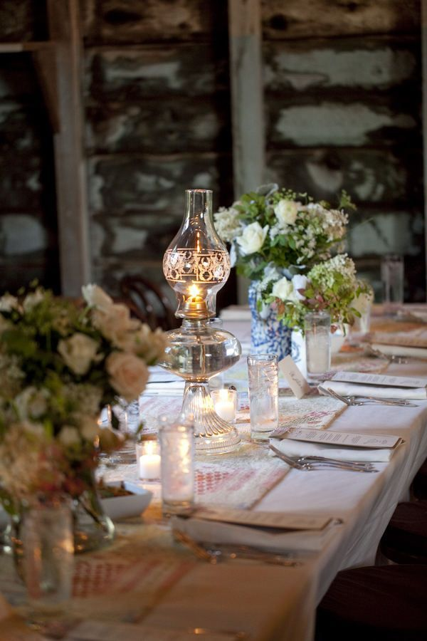 Oil Lantern Hurricane Lamp Incorporated Into Centerpiece Or On Food Tables