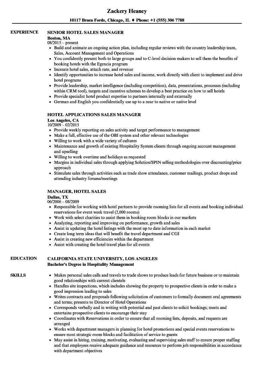 Unique Hotel Sales Manager Resume Samples in 2020 Hotel