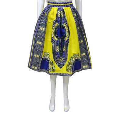 Dashiki ankara wax African print full knee length skirt