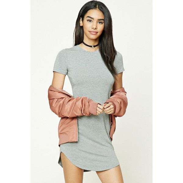 Forever21 Curved Hem T-Shirt Dress ($11) ❤ liked on Polyvore ...
