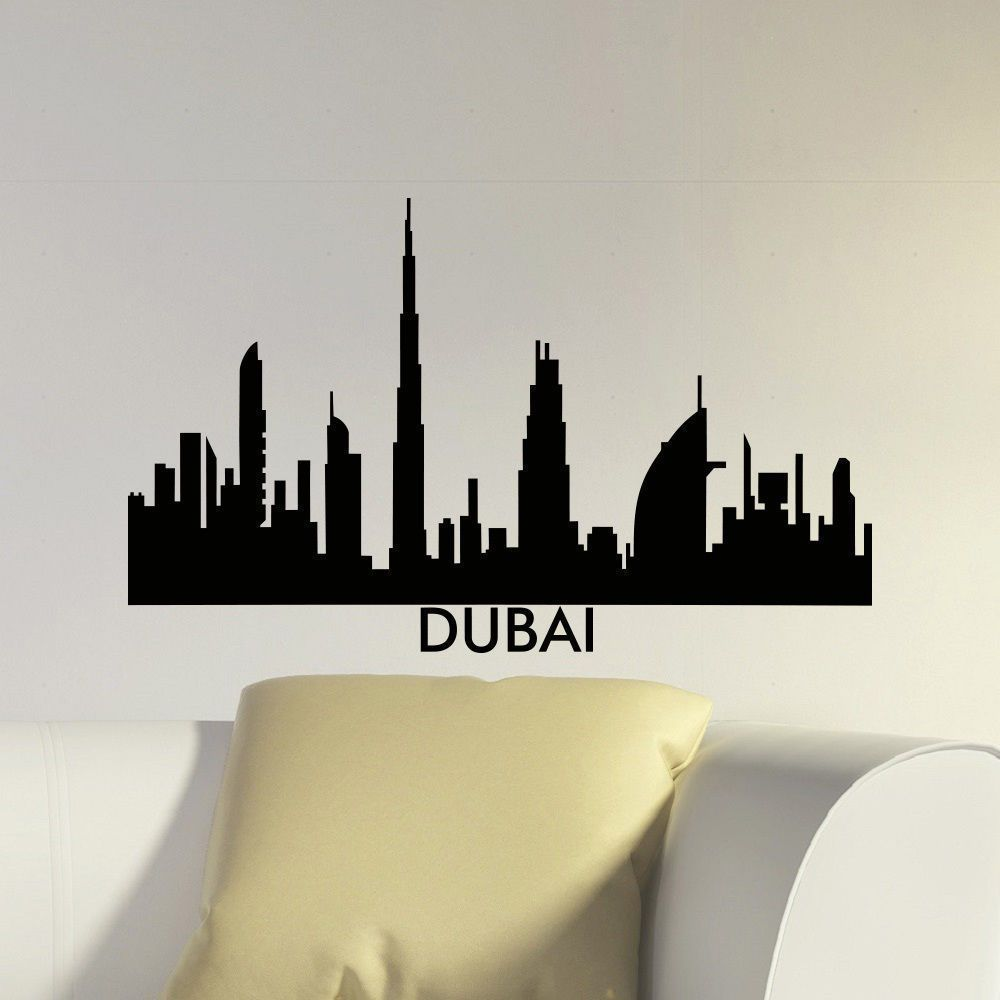 Dubai Skyline City Silhouette Vinyl Wall Art Decal Sticker - How to make vinyl wall decals with silhouette