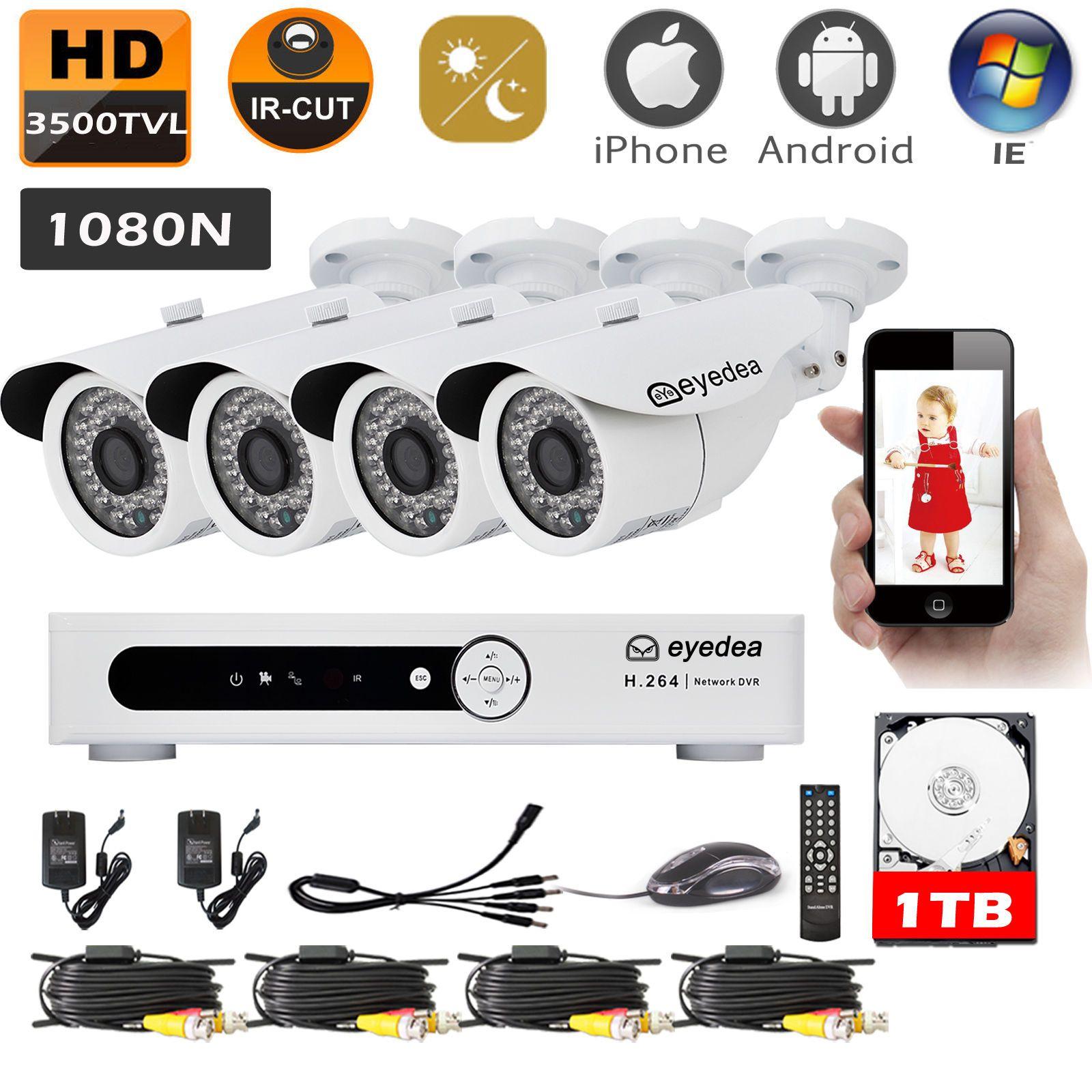 8CH 3500TVL HDMI DVR Video Recorder Night Vision CCTV Security Camera System 1TB