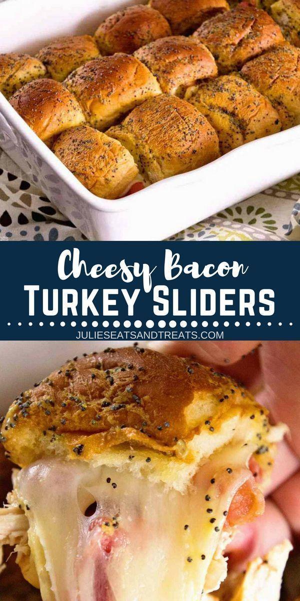 Cheesy Bacon Turkey Sliders - Looking for easy leftover turkey recipes? Make this Cheesy Bacon Tur