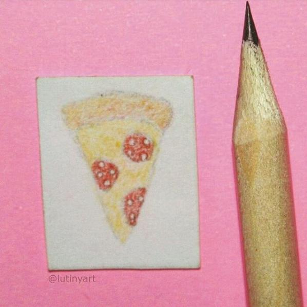 Dibujo De Pizza En Una Pulgada En 2020 Dibujo De Pizza Miniaturas Dibujos