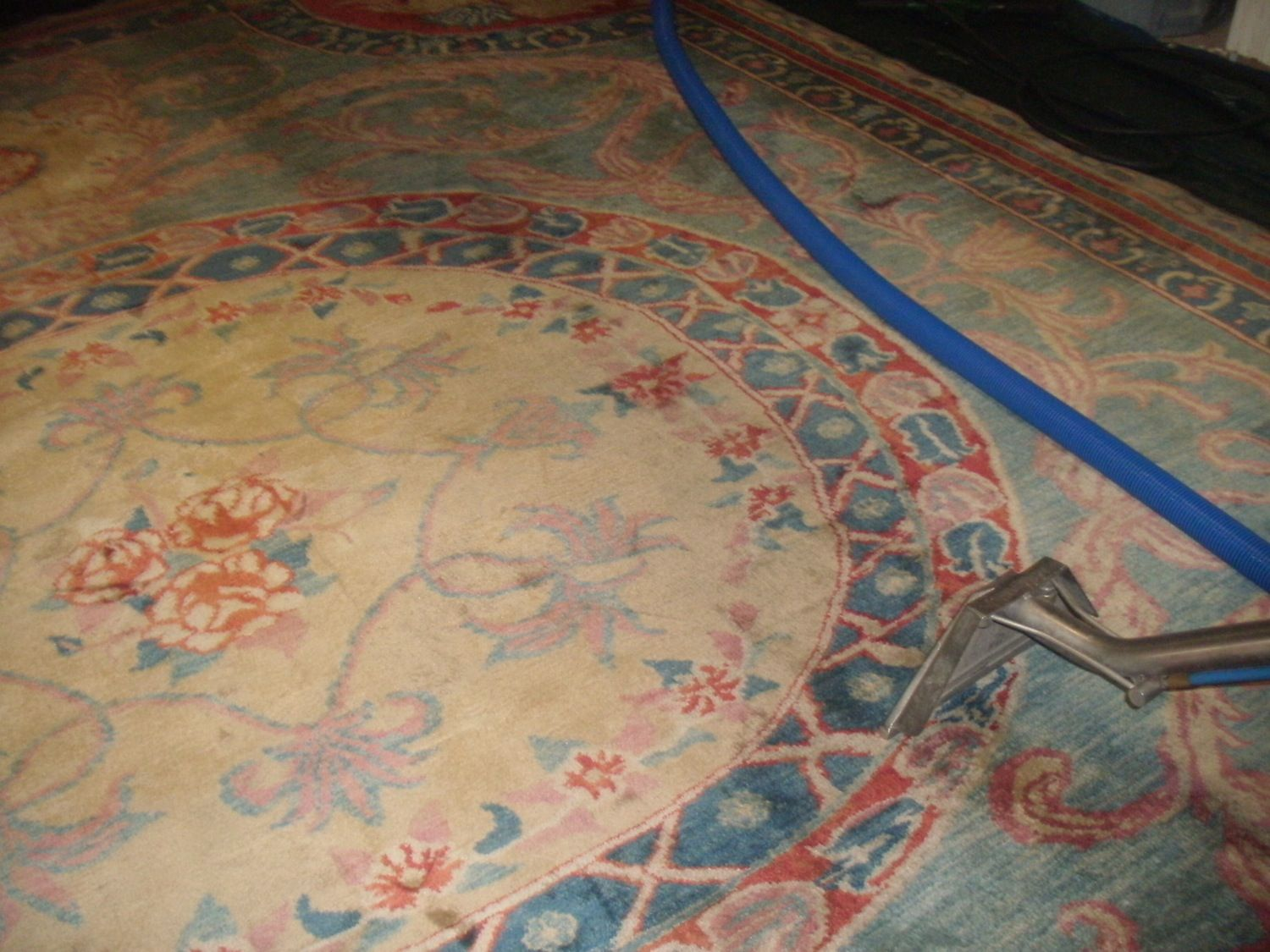 This area rug came into our facility that was very soiled with stains and grime. Using our patented tools and equipment that is specifically designed for #orientalrugcleaning, we were able to get virtually all the stains out of this rug and look brand new again.