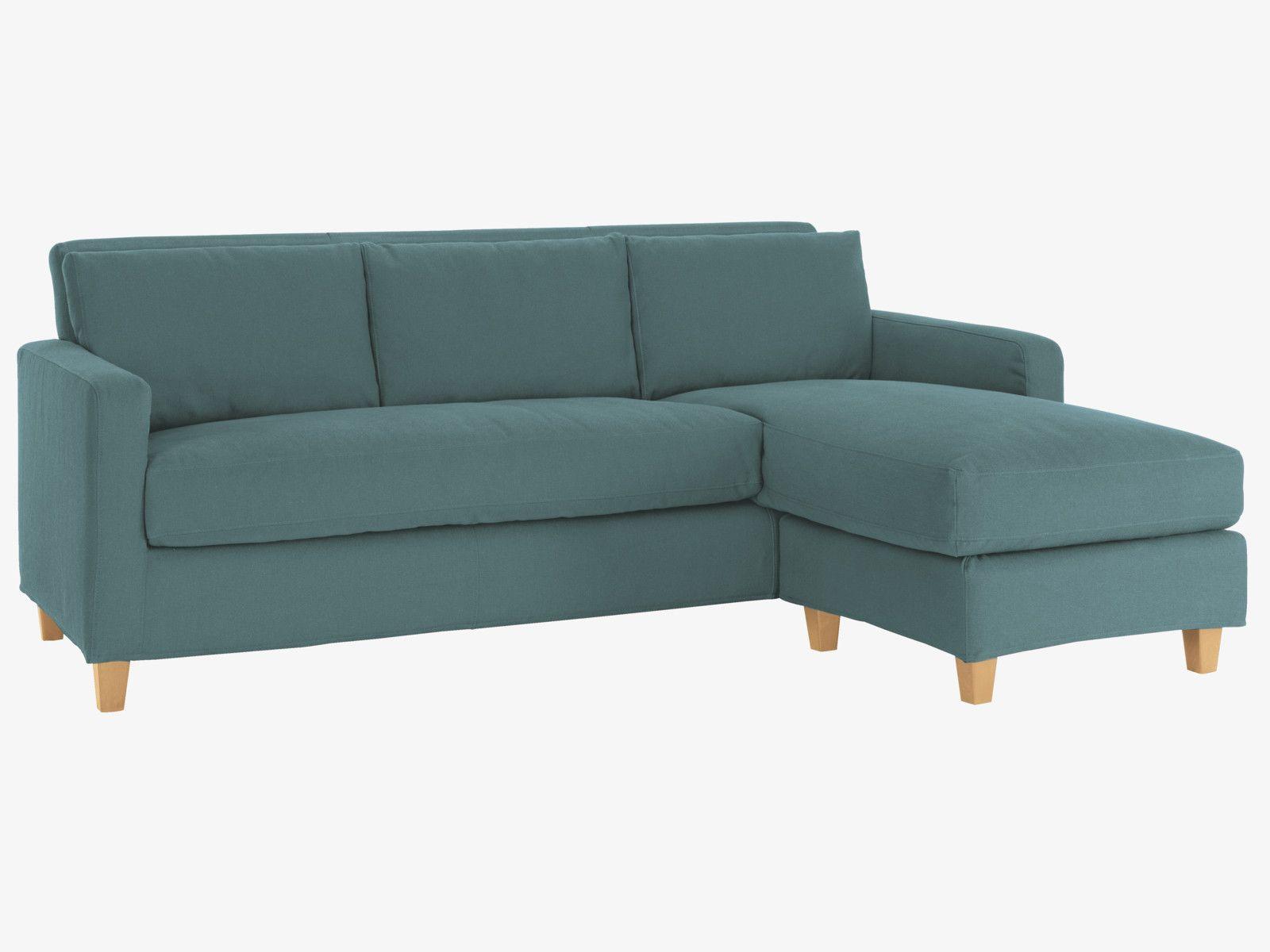 CHESTER Dark blue fabric 3 seater chaise sofa oak feet