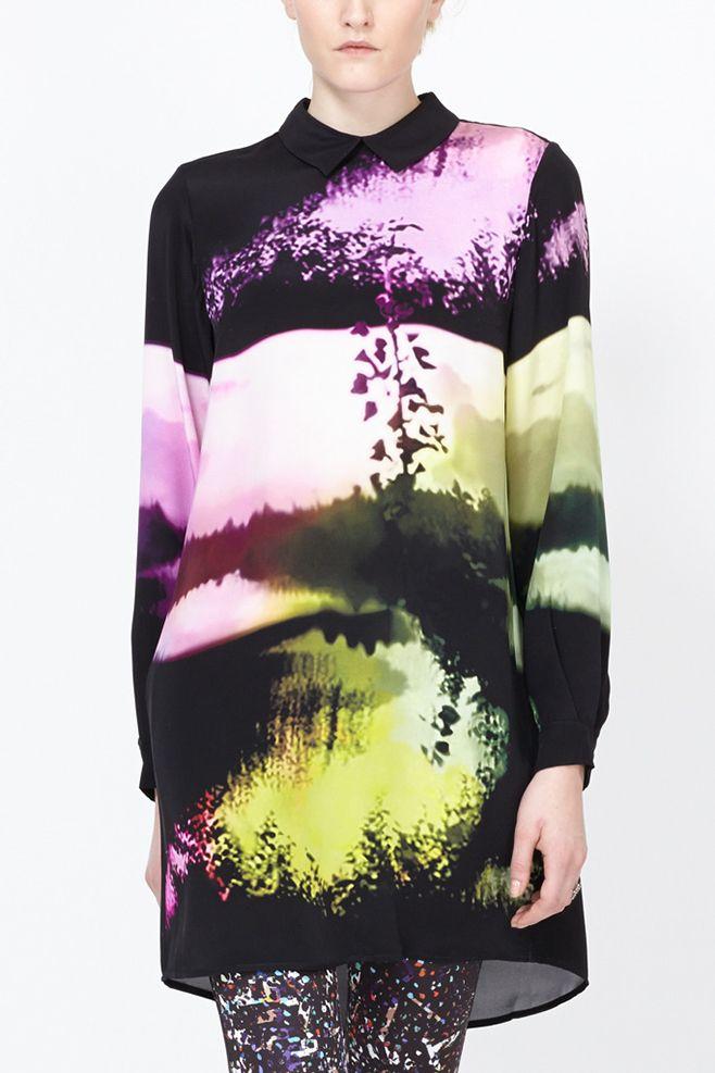 Mary Katrantzou HC Long Sleeve Blouse Dress (Woodstock Lilac)