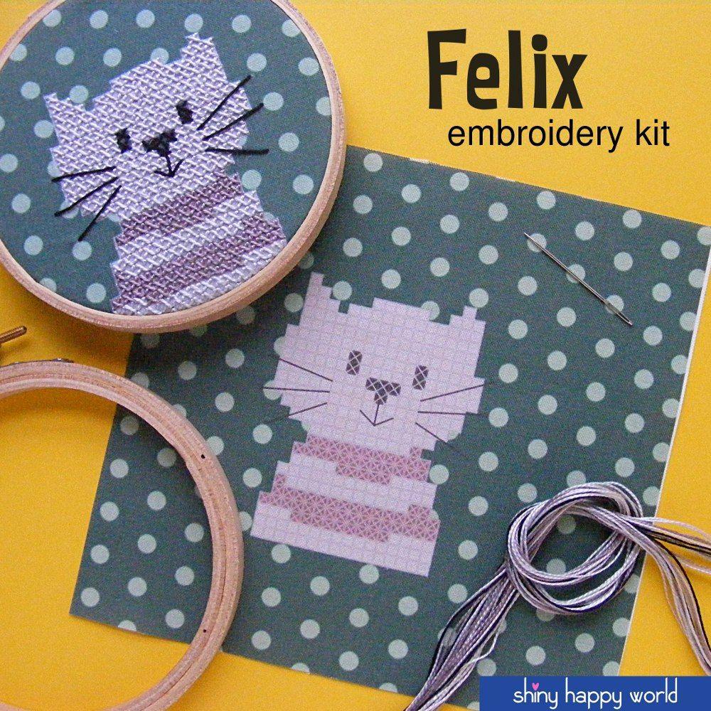 Felix - easy cat embroidery kit from Shiny Happy World